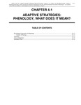 Volume 1, Chapter 4-1: Adaptive Strategies: Phenology, What Does It Mean?